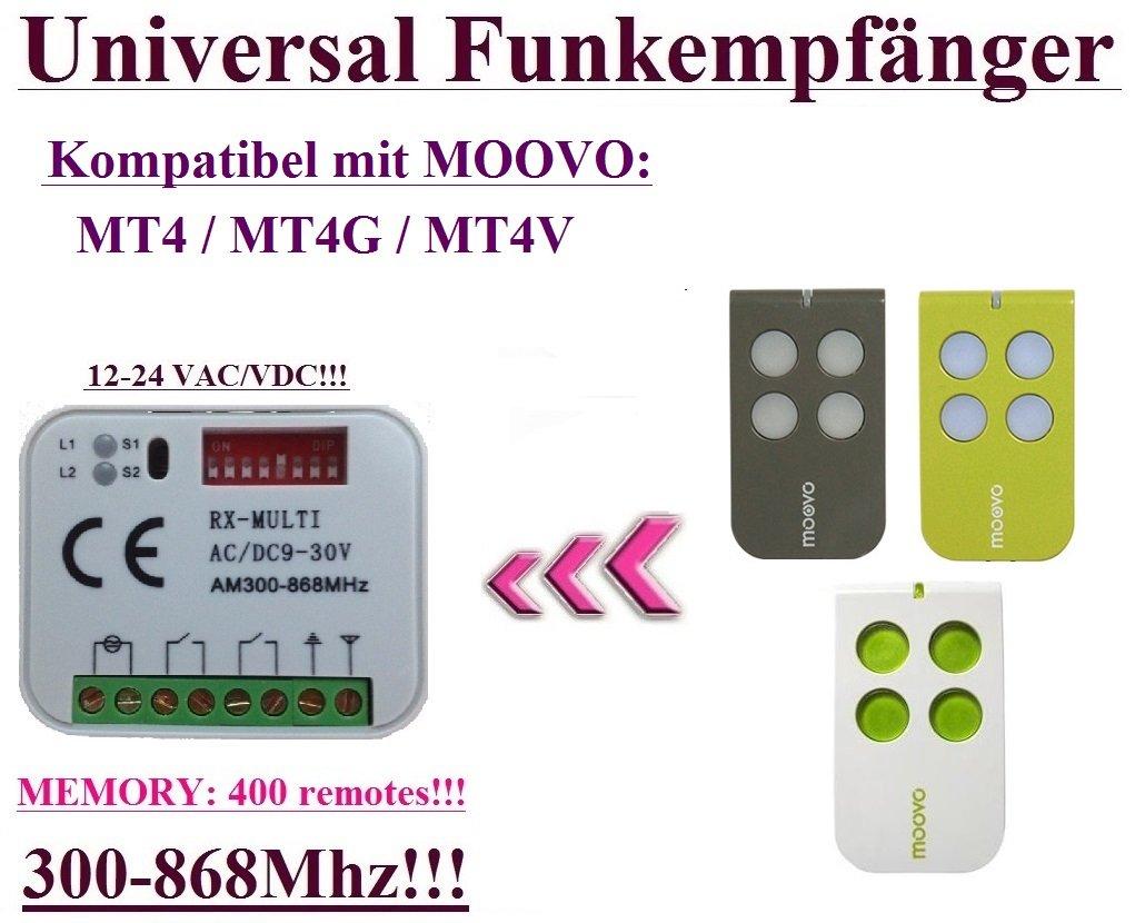 Ré cepteur radio universel compatible avec Moovo MT4, Moovo MT4G, Moovo MT4 V handsender. 2 de Rolling Code fixe 300 MHz de commande 868MHz 12– 24 VAC/DC Universal Funkempfänger für MOOVO 433 92Mhz handsender. 12 - 24 V