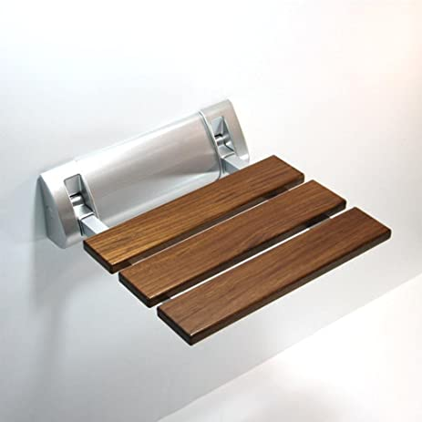 Amazon.com: TSAR003 Solid Wood Bathroom Folding Shower Seat Wall ...