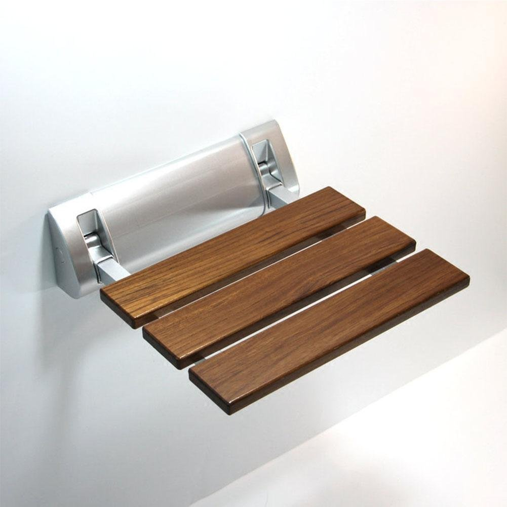 TSAR003 Solid Wood Bathroom Folding Shower Seat Wall Mounted,Specifically For The Elderly /Pregnant Women/Disabled People,32Cm32.8Cm,350 Lb Load , B