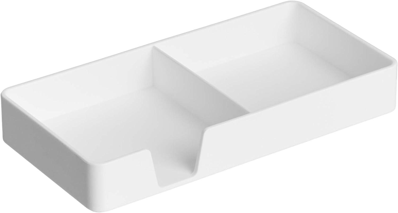 AmazonBasics Organizador de plástico, bandeja pequeña, blanco