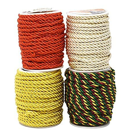 Mandala Crafts 5mm 3/16 Inch Rayon Home Décor Piping Braided Trim Rope Twisted Cord (5mm 4 Rolls, Combo - Rayon Twist Cord