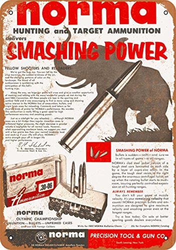 Wall-Color 9 x 12 METAL SIGN - 1955 Norma Ammunition - Vintage Look (Norma Ammunition)