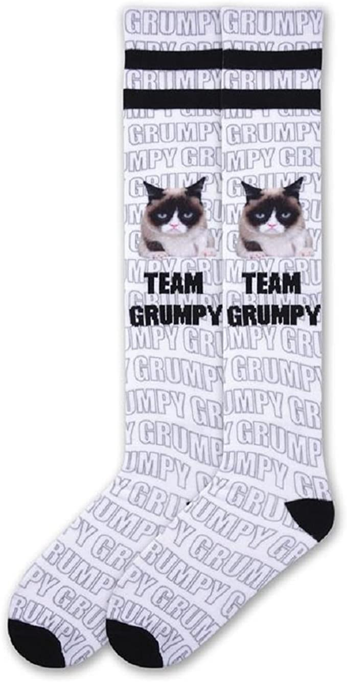 K.Bell Grumpy Cat I have a Idea Go Away Black Pink Womens Socks New
