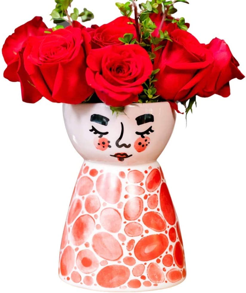 Ceramic face Flower vase, Modern Planter, Face vases for Floral Decorations, Decorative Bud vase for Home or Office Decor, Plant vase for Indoor, by MintAndSoda (Red)