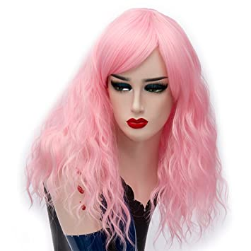 Amazon.com: Alacos 45CM Short Curly Lolita Harajuku Christmas Party Costumes Cosplay Wigs for Women +Free Wig Cap (Aqua Pink): Beauty