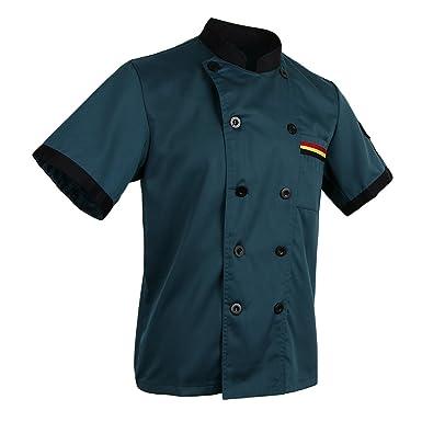 MagiDeal Herren Damen Kochjacke Bäckerjacke Berufsbekleidung Küche  Gastronomie Arbeitskleidung Kurzarm Kochhemd: Amazon.de: Bekleidung