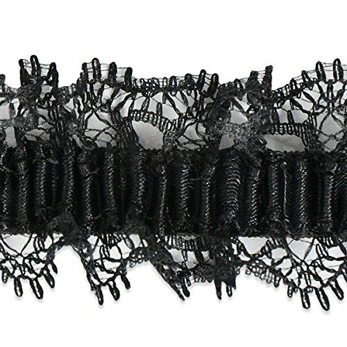Expo IR8055BK-10 10 yd of Ima Organza Ruffle Elastic Trim, Black