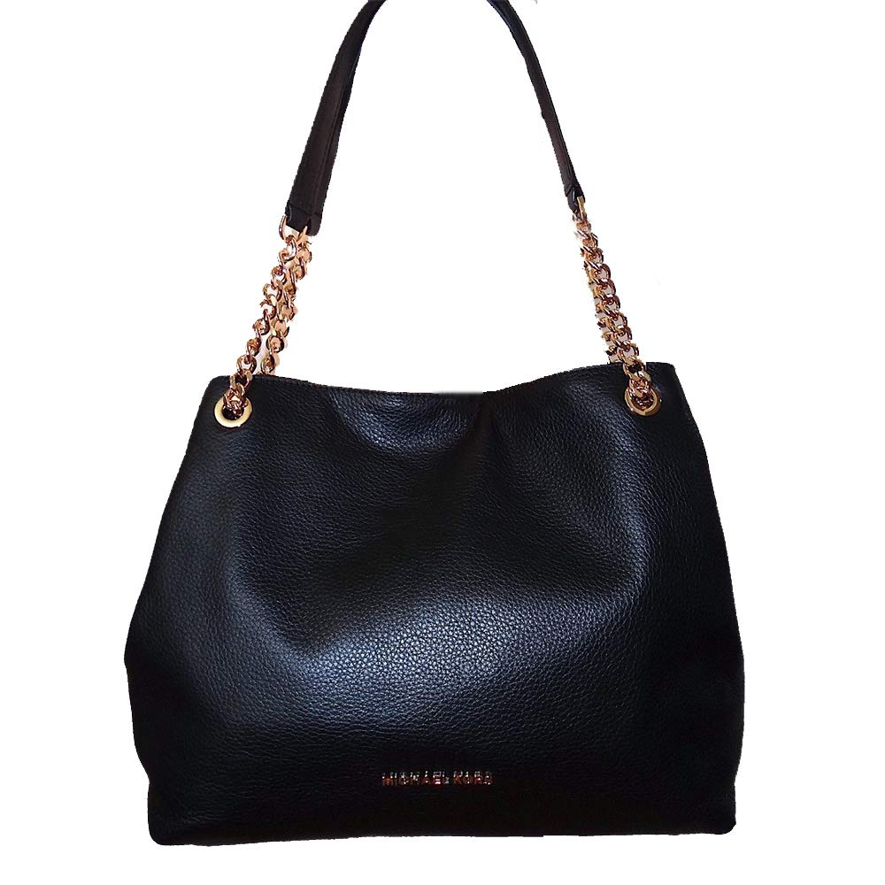 5a8e8007c3c9d1 Amazon.com: Michael Kors Jet Set Black Pebble Leather Chain Shoulder Bag  Hobo Tote: Shoes