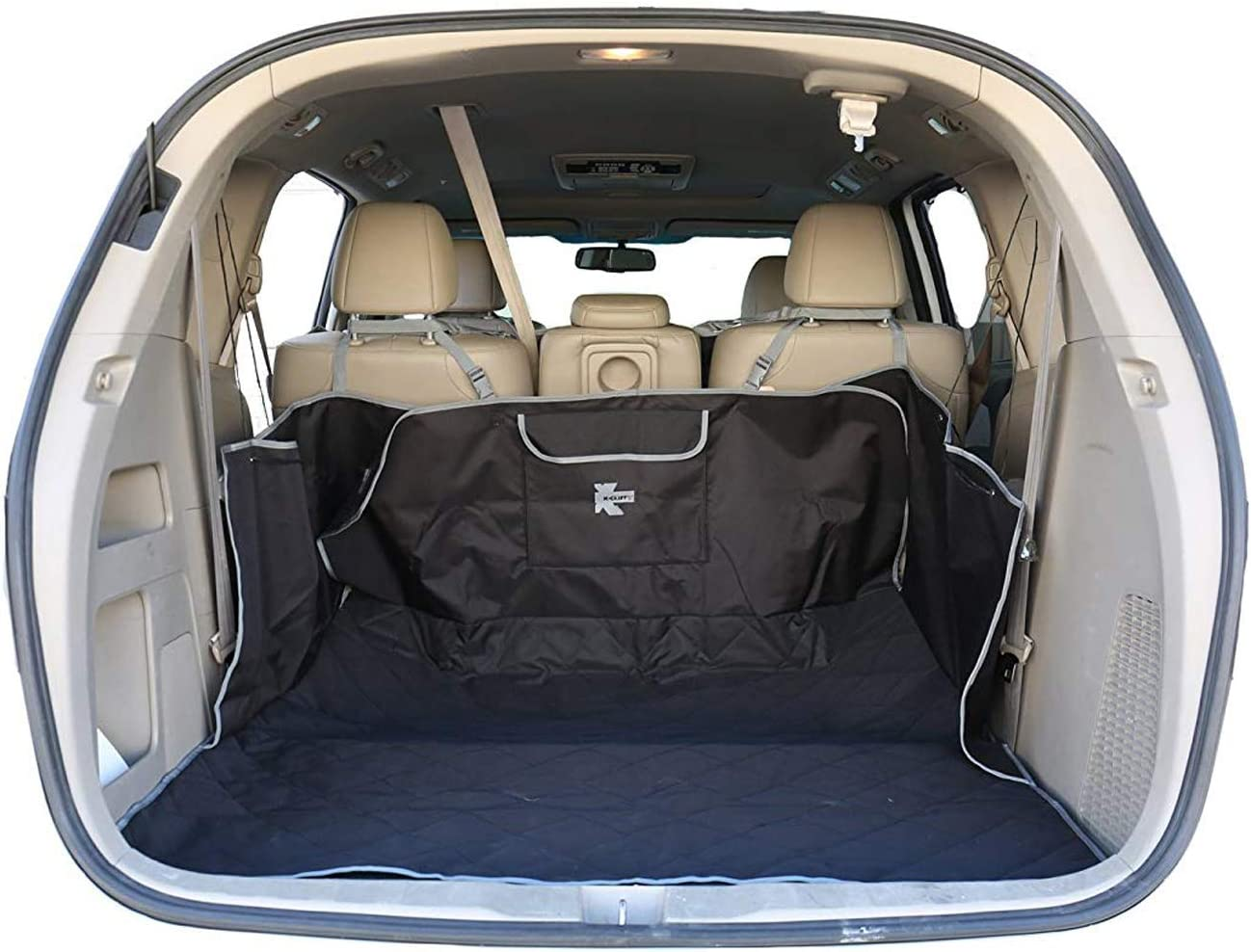 K-Cliffs Pet Cargo Cover Pet Waterproof Quilted Trunk Protector Liner Heavy Duty Trunk Floor Mat Bed Large Covers for Pets Fits Most Car SUV Van Truck with Pocket