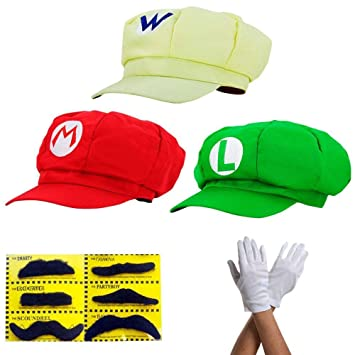 thematys Super Mario Mütze Luigi Wario Kostüm Set für Erwachsene & Kinder + 3X Handschuhe und 6X Klebe Bart perfekt für Fasching, Karneval &