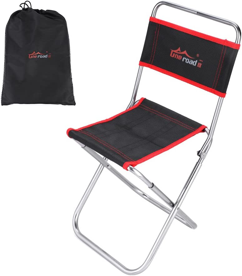 Outdoor Folding Camping Chair Lightweight Portable Folding Aluminum Alloy Chair Outdoor Fishing Camping Picnic Seat with Backrest, for Camping Picnic Backpacking Outdoor with Carry Bag