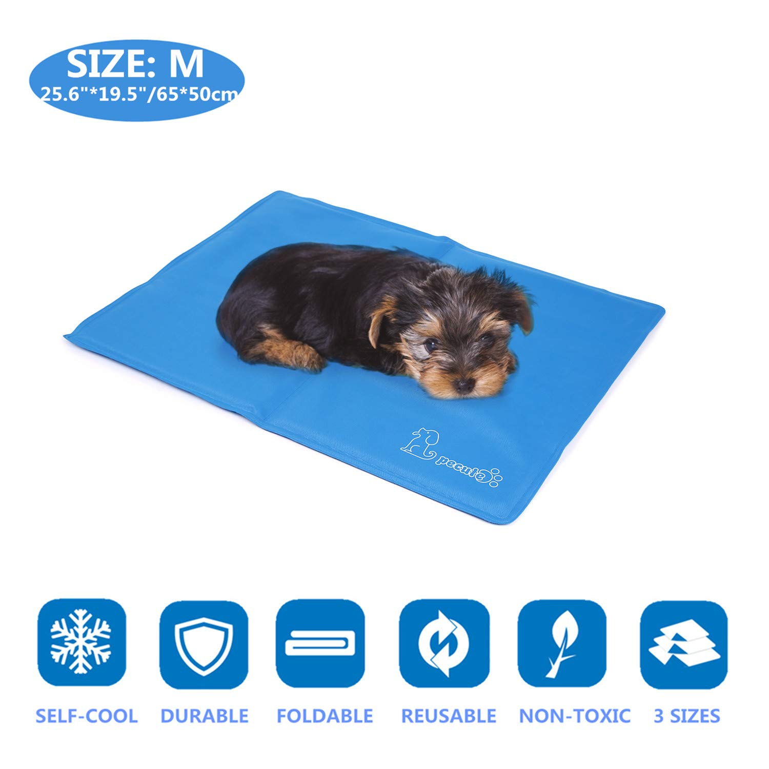 Pecute Dog Cooling Mat Medium 65x50cm, Durable Pet Cool Mat Non-Toxic Gel Self Cooling Pad, Great for Dogs Cats in Hot Summer