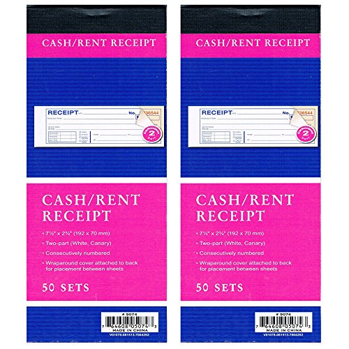 (2 Cash Rent CARBONLESS Receipt Book 2 Part 50 Set Money Record Booklet Duplicate)