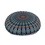 Blue 32'' Mandala Barmeri Large Floor Pillow Cover Cushion Meditation Seating Ottoman Throw Cover Hippie Decorative With Back Side Zipper Bohemian Pouf Cover