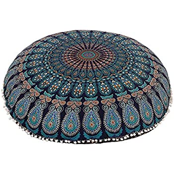 Amazon.com: Gokul Handloom Indian Large Mandala Floor Pillow ...