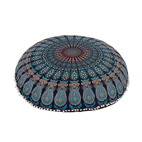 32'' BLUE MANDALA FLOOR PILLOW CUSHION SEATING THROW COVER HIPPIE DECORATIVE Bohemian Ottoman Poufs, Pom Pom Pillow Cases,Boho Indian by Shubhlaxmifashion