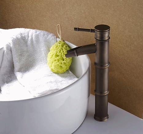 Bronzo antico cascata rubinetto lavabo bagno-Bamboo Shape Design ...