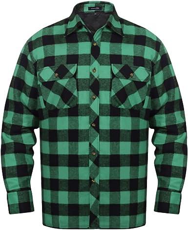Camisa en franela de algodón VerdeCuadros negros HOMBRE
