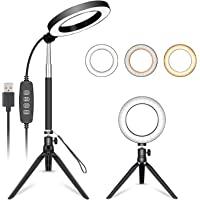 Neewer 6-inch LED Ring Light with Adjustable Selfie Stick for YouTube Video Live Stream Makeup Selfie, Desktop USB Camera LED Light with Mini Tripod,3 Light Modes and 11 Brightness Level
