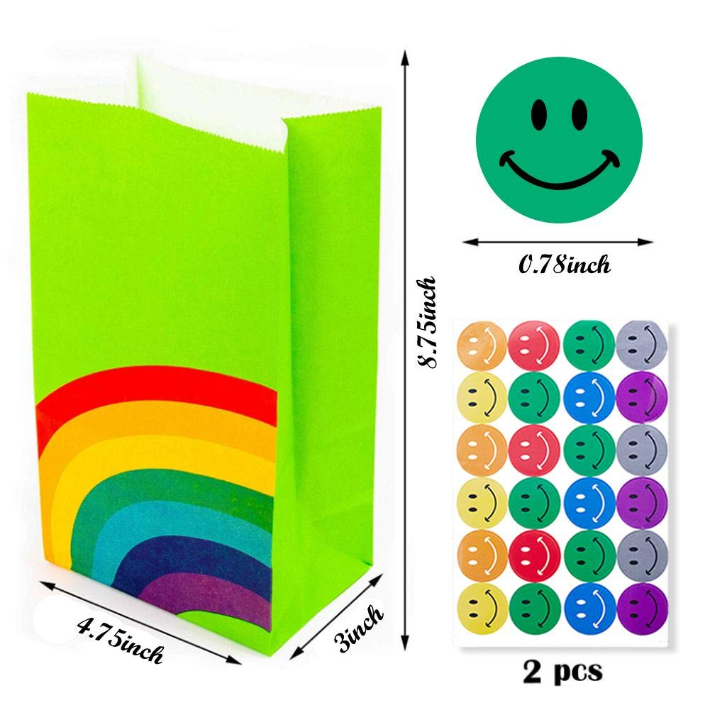 LovesTown 48Pcs Rainbow Paper Gift Bags,8 colour Rainbow Party Bag Rainbow Gift Bag Birthday Gifts and Party Favors Multi-use for Girls Boys Kids Party Supplies