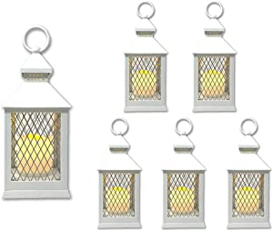 """THE NIFTY NOOK Farm House Lanterns {6 Pc Set} 10"""" Decorative Lanterns with Flameless LED Lighted Candle, 5HR Timer, Weather Resistant - Decorative Outdoor Lanterns - White"""