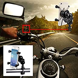 TurnRaise Motorcycle Stand Mobile Phone Holder Mount Bracket w/ USB Charger Socket Charging for iPhone 6 6S 6 Plus GPS Samsung Galaxy S7 S7 Edge HTC Huawei Nexus 6 and More