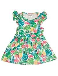 Girls Tropical Pineapple & Flamingo Print Sleeveless Summer Dress