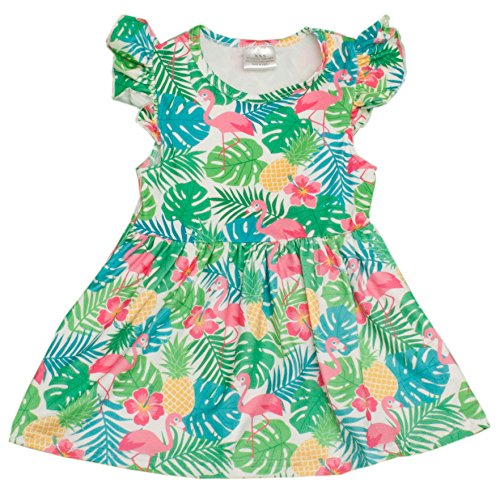 Girls Tropical Pineapple & Flamingo Print Sleeveless Summer Dress (12 Months)