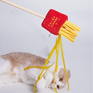 CHANLAU Cat Wand Cat Toy Delicacy Food Funny Toys | Interactive Cat Toys Wooden Food Shaped | Soft and Safe Entertainment Tools | Cat Catcher Teaser Stick for Kitten Having Fun Exercise Playing