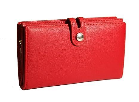 Cartera de cuero mujer roja / Monedero de piel señoras rojo / Billetera de cuero dama