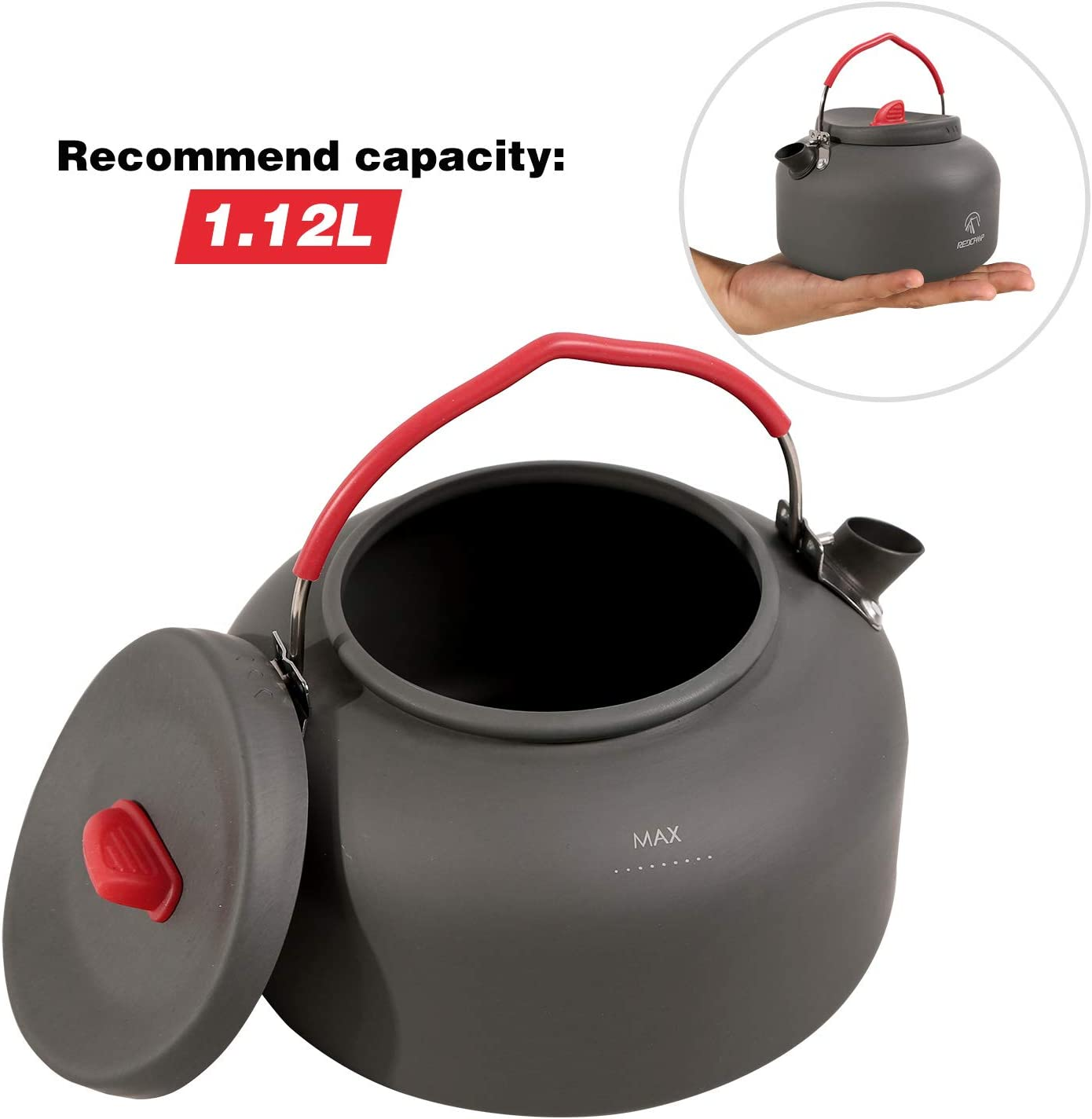 REDCAMP 1,1 l Hervidor de Agua de Aluminio con Bolsa de Transporte Compacto y Ligero 1,6 l