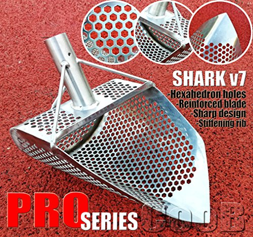 Beach Sand Scoop Metal Detector Hunting Tool CooB PRO Series SHARK v7 Stainless Steel HEXAGON 7 mm Holes. Light and Strong (Pro Series Sand)