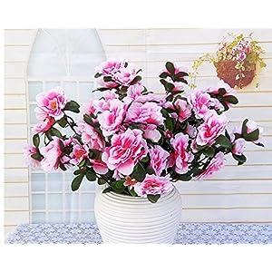 Lopkey 6 Heads Azalea Artificial Bush Flowers Bouquet Wedding Home Decor 11