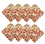 Harvest Leaf Festival Autumn and Thanksgiving  Fabric Print Napkin Set, Set of 8 Napkins