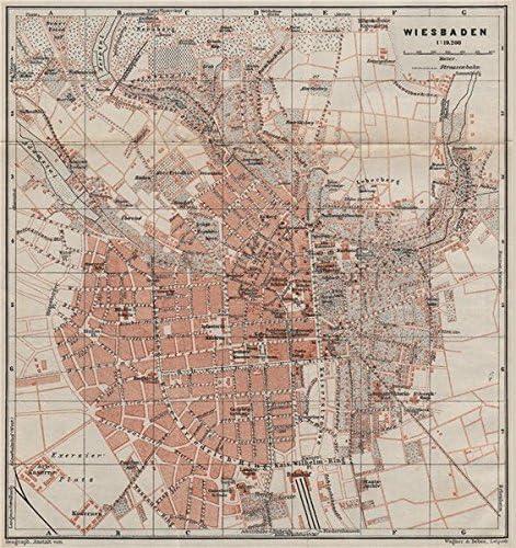 Amazon Com Wiesbaden Antique Town City Stadtplan Hessen Karte