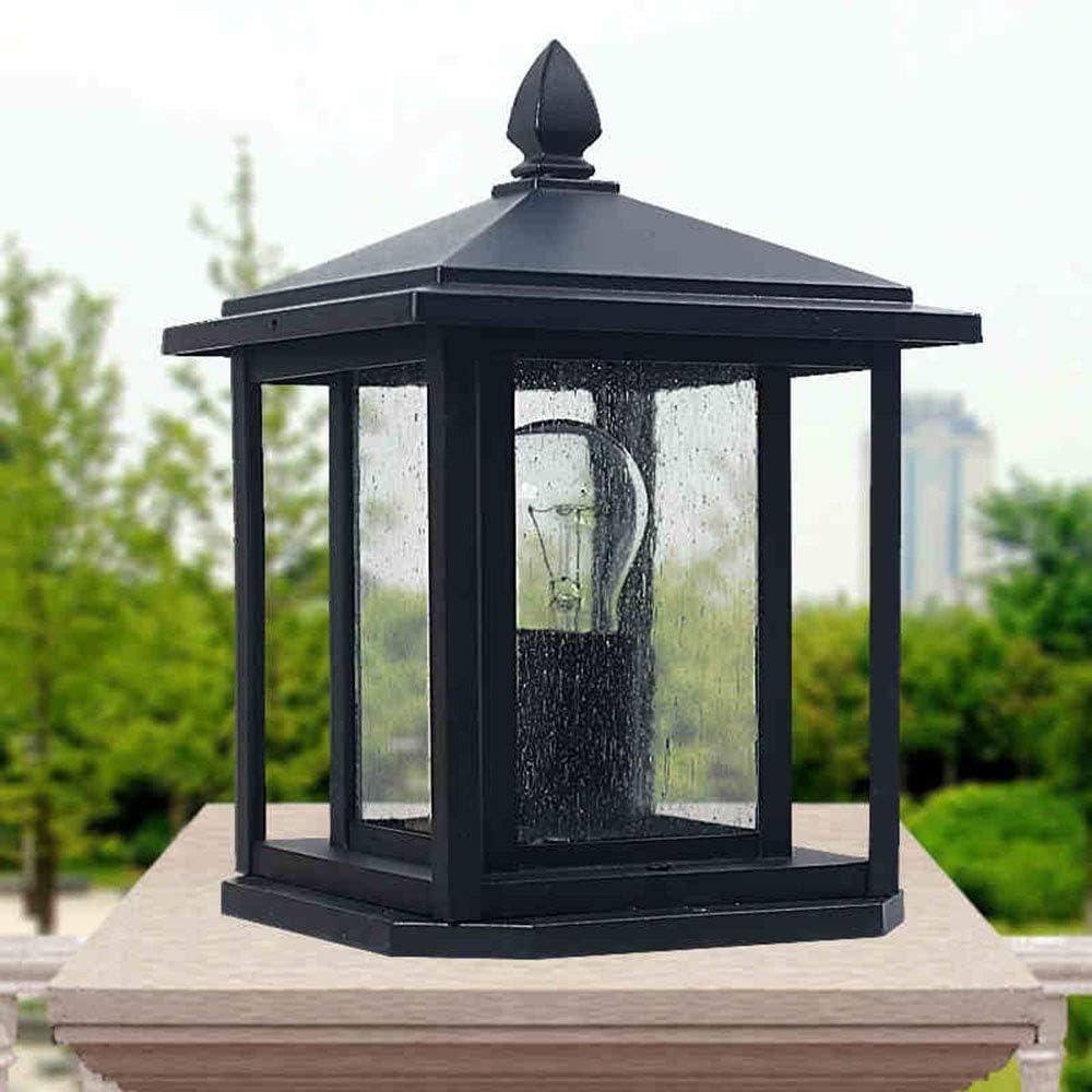 Retro E27 Lámpara para exterior Luz de pedestal Negro Aluminio ...