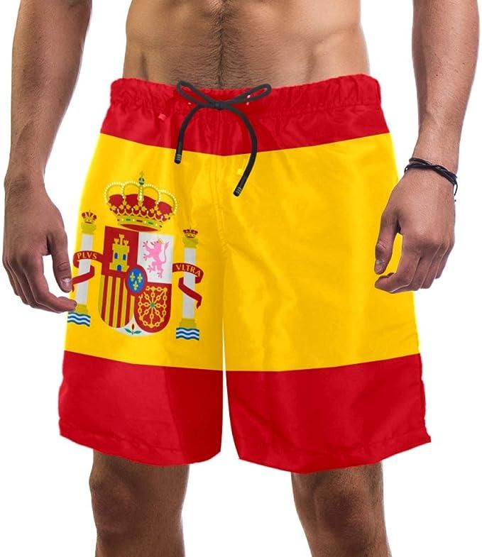 Eslifey - Bañador elástico para hombre, diseño de bandera de España: Amazon.es: Ropa y accesorios
