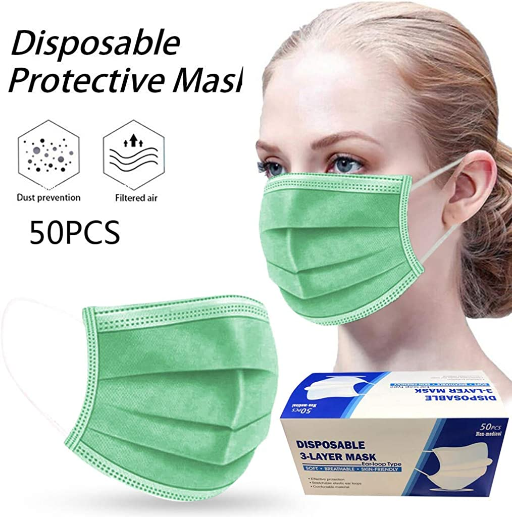foreverH 50 Pcs Disposable Cover Unisex Oral Protection 3-ply Filter Safety Dustproof Cover