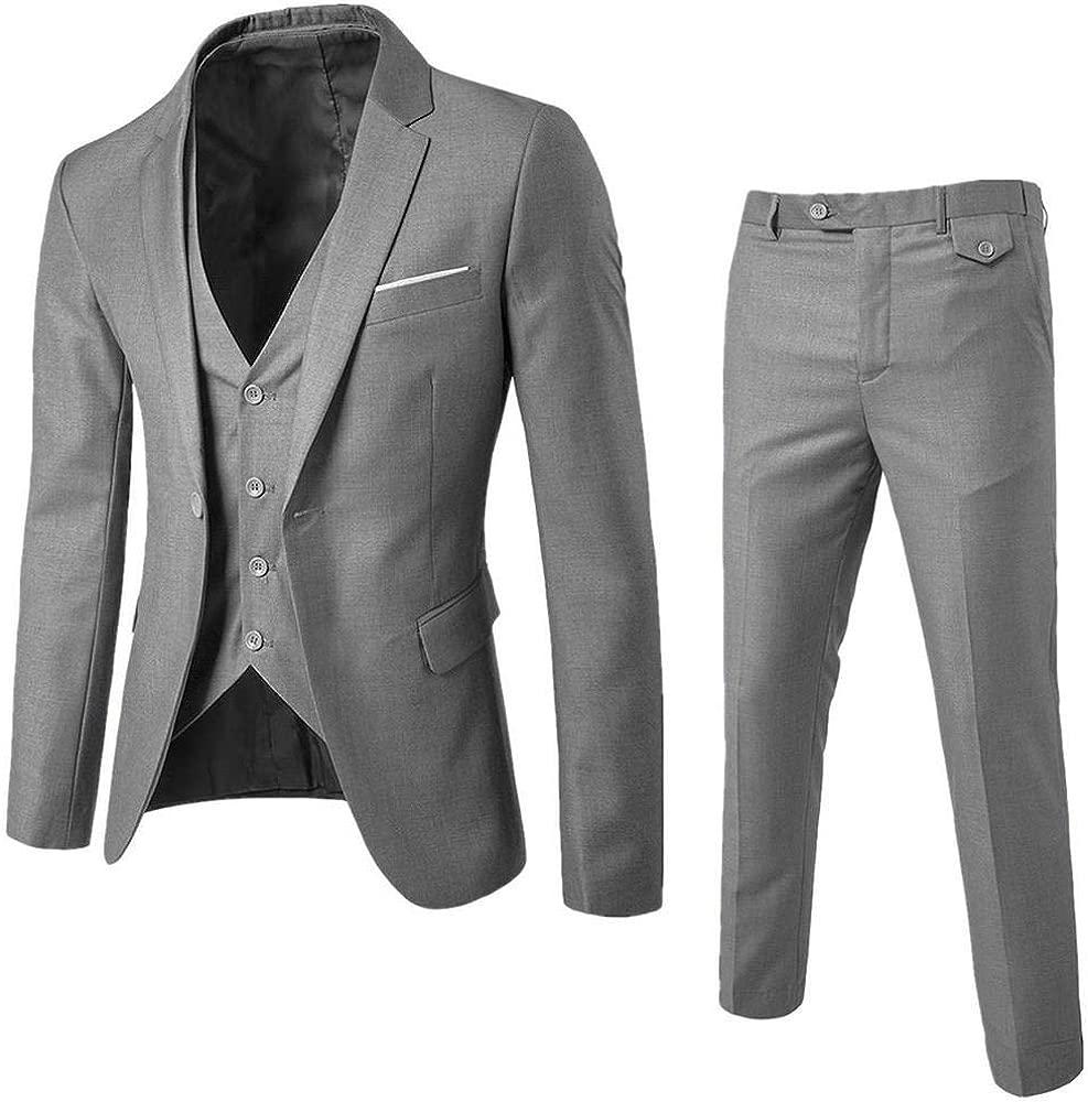 Logobeing Trajes de Hombre para Boda Slim Suit Chaqueta Delgada de 3 Piezas Blazer de Negocios Banquete de Boda Chaleco y Pantalones