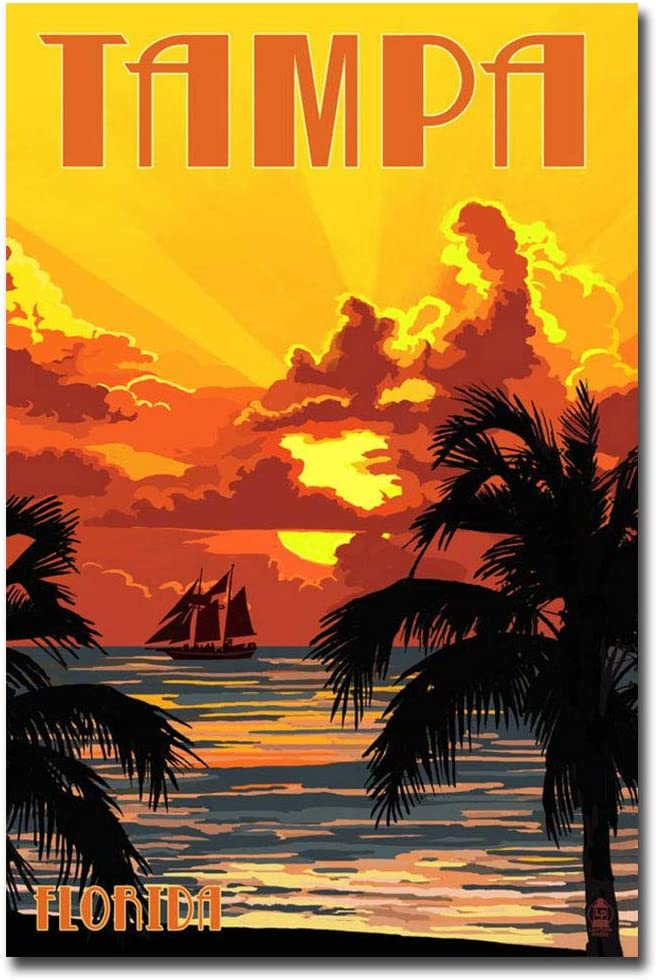 "Tampa Florida Sunset Vintage Travel Art Refrigerator Magnet Size 2.5"" x 3.7"""