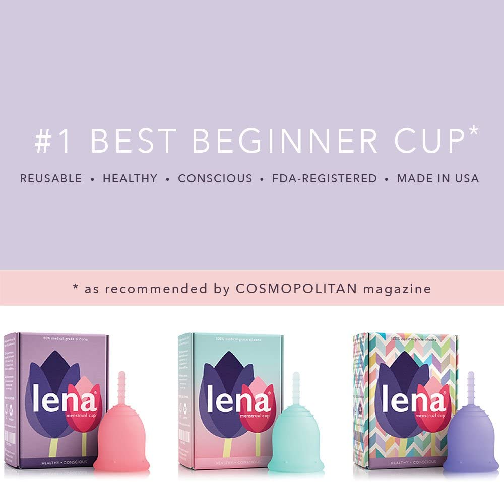 Lena Sensitive Menstrual Cup - Small - Clear - Regular Flow - Soft Beginner Cup - Made in USA - Sensitive Bladders & Period Cramps: Health & Personal Care
