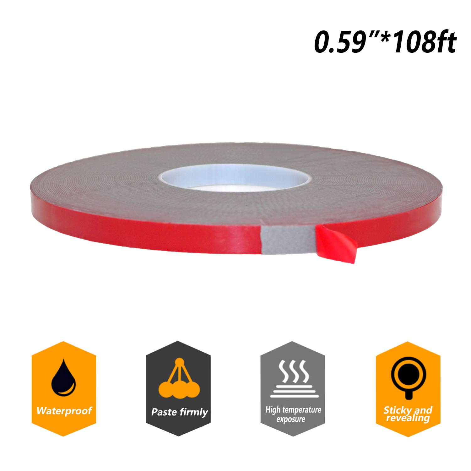 Double Sided Tape - Heavy Duty Mounting Adhesive Tape,VHB Waterproof Foam Tape for LED Strip Lights,Home Decoration, Office Decorations (0.59In x 108 Ft, Black) by Storystore