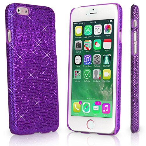 Apple iPhone SE / 5 / 5s Glitter Solid Sequin Case Variety Bling Diamond Luxury Sparkly Cute Girly Kawaii Pretty Shine Twinkle Sparkle Back [Thin Hard Cover] By Tech Express (Purple) (Iphone 4 Wall Charger Sparkly)
