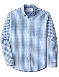 Men's Regular-Fit Long-Sleeve Check Casual Poplin Shirt