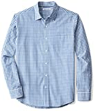 Amazon Essentials Men's Regular-Fit Long-Sleeve Check Shirt, Blue Check, Large