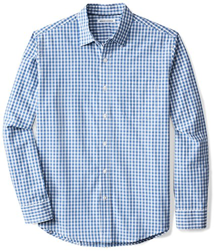 Amazon Essentials Men's Regular-Fit Long-Sleeve Check Shirt, Blue Check, Medium