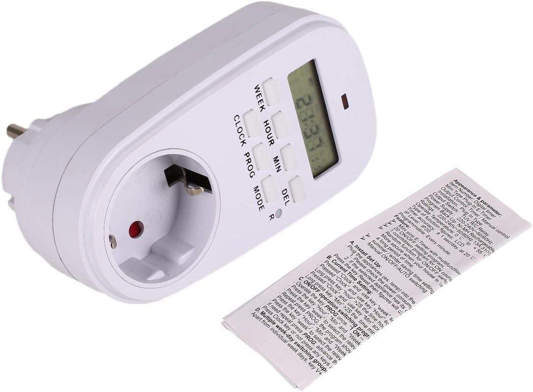 Ballylelly Mini Digital LCD 230V 16A Minuterie Commutateur Prise De Charge Plug-in Temps Compte /à rebours /Économie D/énergie Contr/ôleur /Électronique Programmable