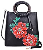 Pijushi Designer Floral Purses Women's Top Handle Handbag Leather Tote Bag Holiday Gift 6013 (Peony Floral Black/Red)