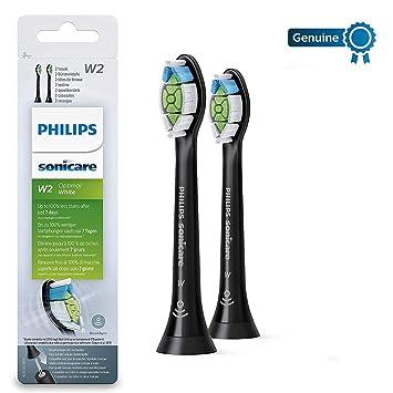 Philips Genuine Sonicare Optimal White Replacement Brush Heads, 2 Pack,  Black - HX6062/13