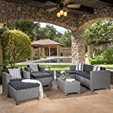 Patagonia Outdoor 10 Piece Wicker Sofa Collection w/Water Resistant Cushions (Dark Grey/Mixed Black)